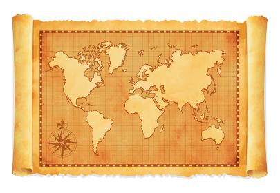 色褪せて丸まった古地図ベクターイラスト / 世界地図