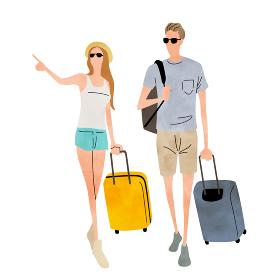 イラスト素材:カップル、旅行、夏