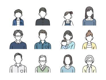 老若男女 家族 人々 アイコン セット 顔なし イラスト素材