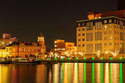 観光地門司港レトロ地区の美しい夜景【福岡県北九州市】