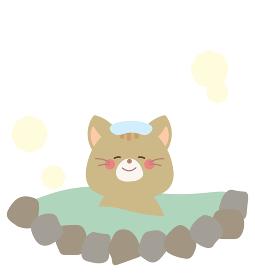 温泉に入るネコのイラスト