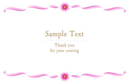 ピンクのグラデーションのコスモスの水彩フレーム、背景素材、秋イメージ