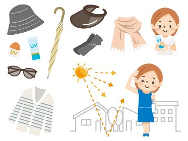 日焼け対策をする女性のイラストレーションのセット