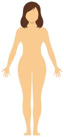 女性 全身 裸・ヌード (シルエット,輪郭 ) 顔なしイラスト (日本人・アジア人)