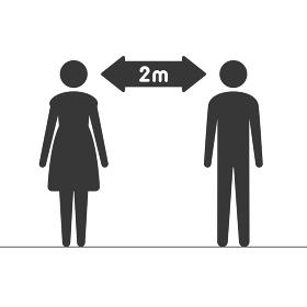 ソーシャルディスタンスのピクトグラム:2m離れた男女のアイコン - コロナウイルス感染予防のサイン