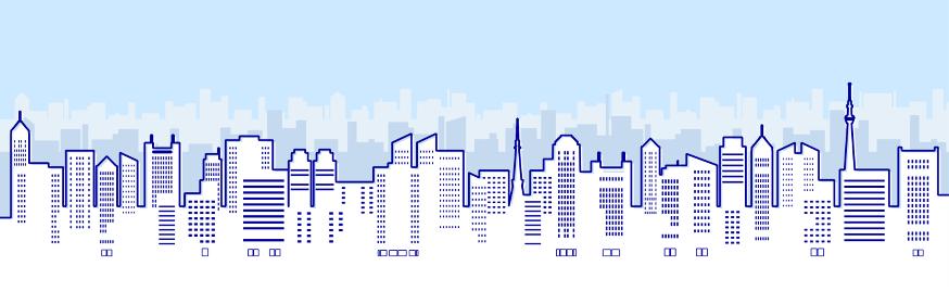 ビルのある都市風景のイラスト(線画)