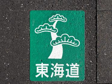 旧東海道の路面に書かれている松と東海道の絵