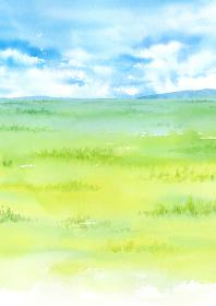 草原の風景 野原 水彩イラスト A4縦