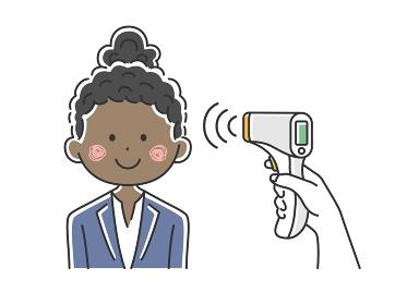赤外線温度計で検温される黒人ビジネスウーマンのイラスト