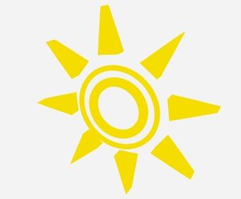 下を向いた黄色の二重丸太陽