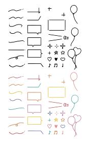 シンプルなラインの吹き出しとあしらいのイラストレーション