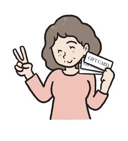 母の日にギフトカードを貰ったお母さんのイラスト