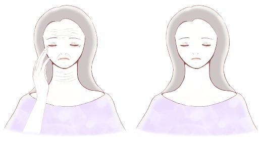 シワのある女性の顔とシワのない女性の顔 比較 ビフォーアフター