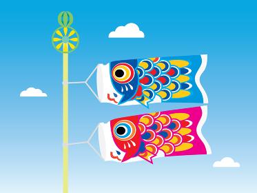 空を泳ぐかわいい2匹の鯉のぼり
