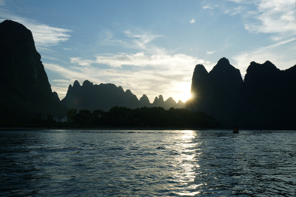 Sunset landscape of river Li and mountain, Guilin, China.