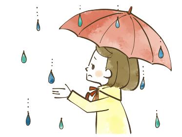 雨の日に憂鬱そうに空を見上げる女性 水彩