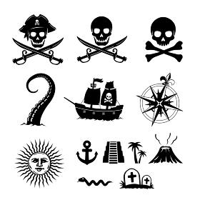 海賊・宝の地図 イラストアイコン セット