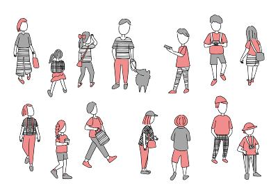 人々の日常生活 シンプルなイラストセット