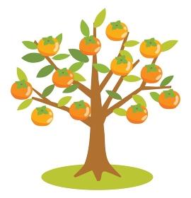 たくさん実がなった柿の木のイラスト