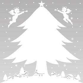 冬 クリスマス ツリー 天使 背景イラスト素材