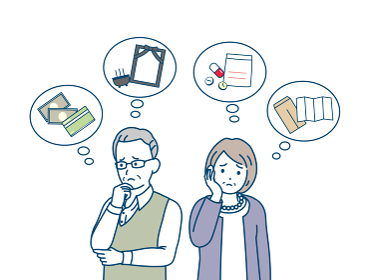 老後を考える老夫婦 余生 不安 悩み シニア 年配 高齢者 男女 イラスト素材