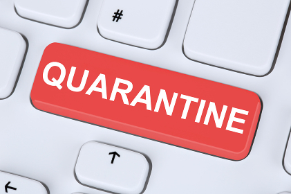 Quarantine isolation Coronavirus corona virus infection disease ill illness healthy health computer keyboard