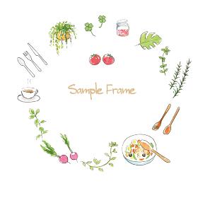 ハーブ、食べ物のフレーム 手描き水彩イラスト