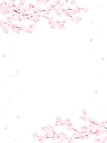 満開の桜 フレーム・背景素材(縦向き)