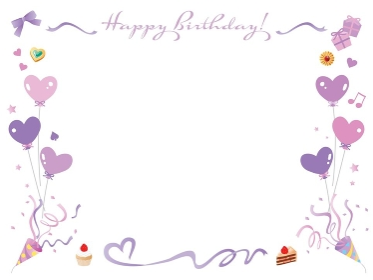 リボンやクラッカーやケーキの紫色のお誕生日のフレーム