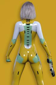 スタイリッシュなマスタードカラーのボディスーツを着て銃を持つ女性戦闘隊員のたくましくかっこいい後ろ姿