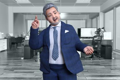オフィスの中でビジネスマンの太った髭の中年男性がひらめいたポーズをする
