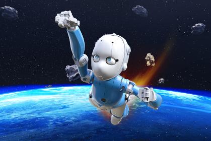 隕石が浮く宇宙を自由自在に飛び回るAI機能が搭載された知能を持つロボット
