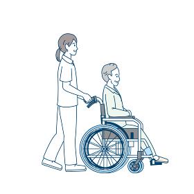 車いす 車椅子を押す 看護師 介護 ヘルパー 患者 シニア 高齢者 イラスト素材