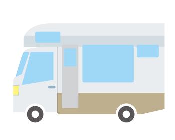 可愛い漫画シンプルなタッチのデフォルメした自動車のイラスト キャンピングカー
