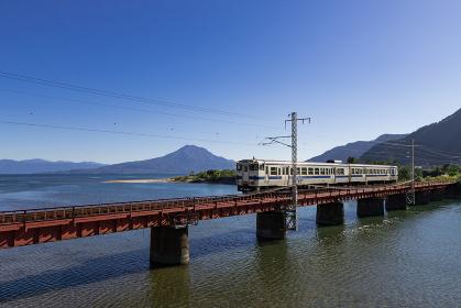 JR日豊本線と桜島の風景 鹿児島県姶良市