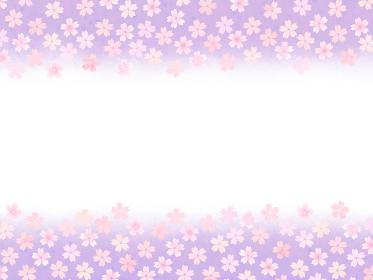 ピンクの桜柄フレーム 高貴な紫のグラデーション背景