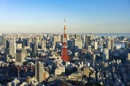 東京都心と東京タワー(同じ場所で、昼から夜まで9枚)