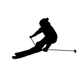 高速で滑るスキーのシルエット