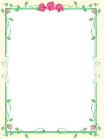 バラ飾り罫 グリーン囲み罫 イラスト素材 シンプルな飾り罫 バロック調・アールデコ調 ベクター