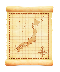 色褪せて丸まった古地図ベクターイラスト / 日本地図