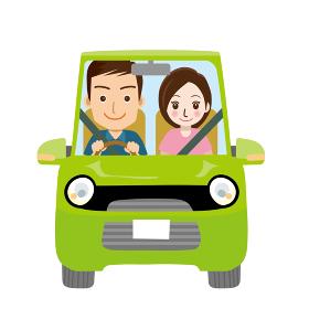 可愛らしい自動車ドライブのイラスト正面 若者恋人カップル夫婦