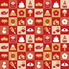 お正月アイコン×市松模様 背景素材(赤)