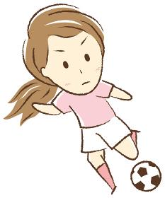 サッカーをする女の子 キック