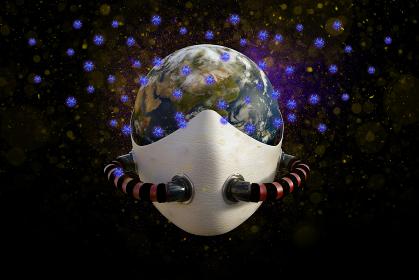 地球全体にウイルスが蔓延したイメージ(ユーラシア大陸側)