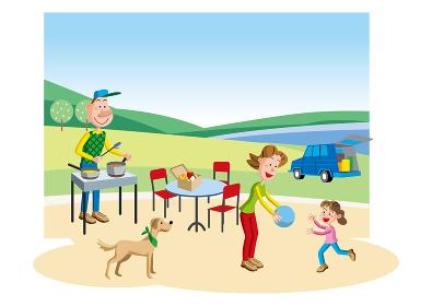 自然豊かな場所でアウトドアを楽しむ家族