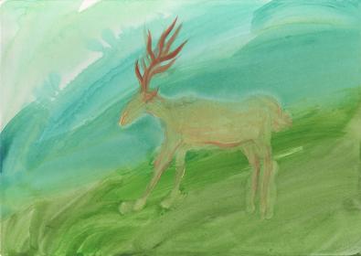 A Deer in the Green Field