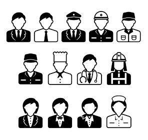シルエット人物 アバターイラストアイコン / ビジネスコスチューム・職業