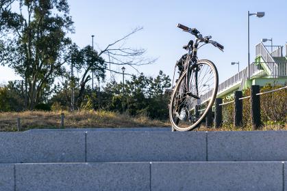 公園に駐めたスポーツタイプの自転車