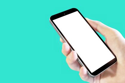 左向きスマートフォン 画面空欄 ミント 5750
