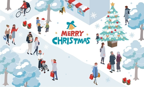 アイソメトリック クリスマスの人々 イラスト 街並み バナー